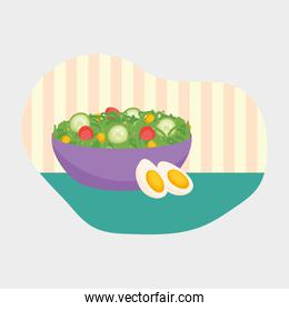 salad with two eggs