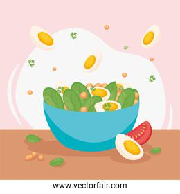 vegetables and eggs salad