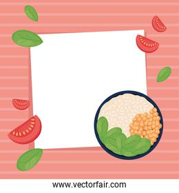 frame with salad