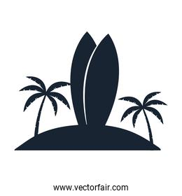 surfboard and palms