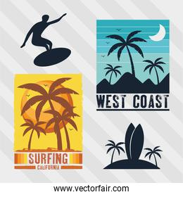 four surf patches