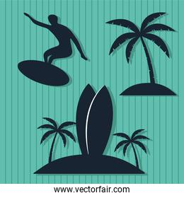 three surf silhouettes