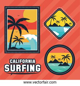 three surf patches