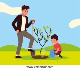 father son planting