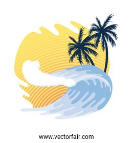 sea wave and palms
