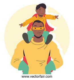 afro super dad and son