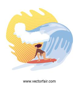 woman surfing in wave
