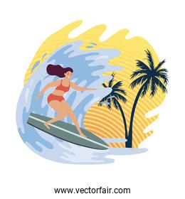 girl surfing in wave