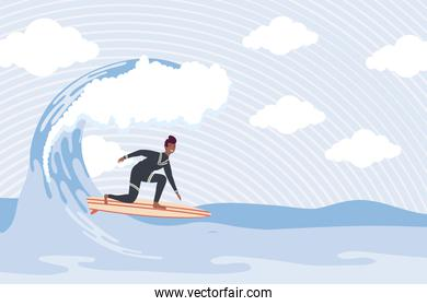 afro surfer in wave