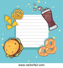 Note paper with fast food
