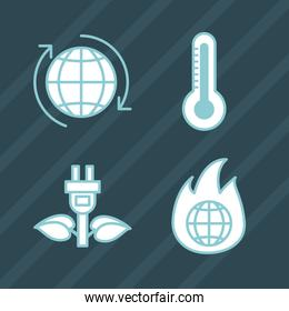 Climate change icon collection
