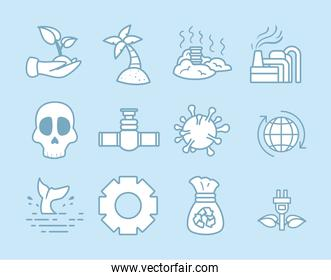 Climate change symbol collection
