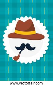 hat and mustache