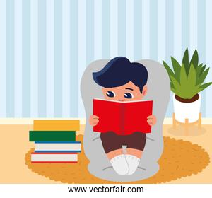 boy with books on chair