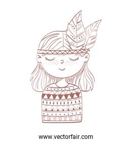 hippie girl with feathers