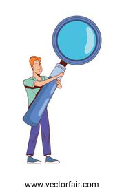 man lifting magnifying glass
