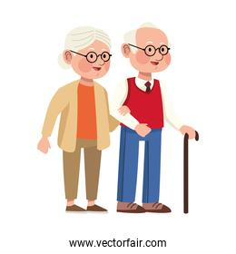 grandparents couple with cane