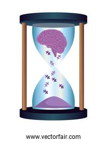 hourglass with puzzle
