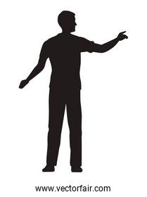 man indexing silhouette
