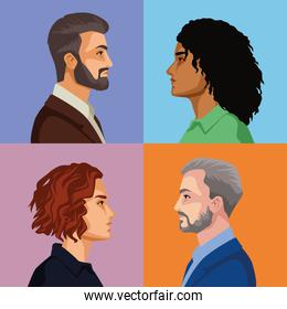 four persons characters