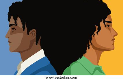 afro couple characters