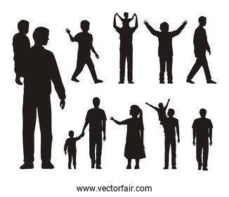 thirteen fathers and kids silhouettes