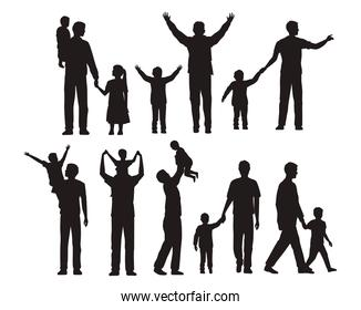 seventeen fathers and kids silhouettes