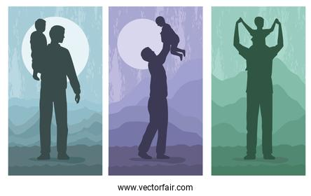 three fathers and kids silhouettes