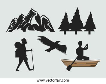 camping summer silhouettes