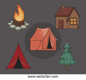 five camping icons