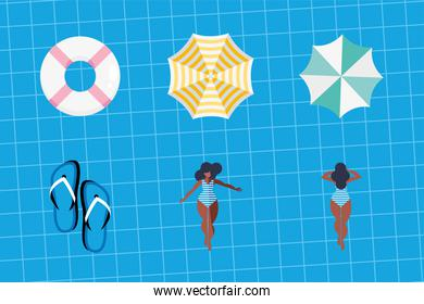 six summer vacations icons