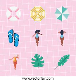 nine summer vacations icons