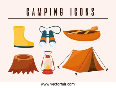 camping icons lettering