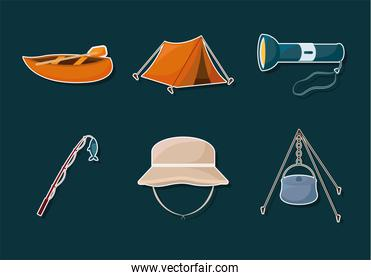 six camping icons
