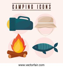 four camping icons