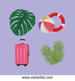 tropical summer icons