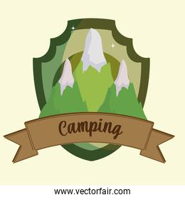 camping mountains label