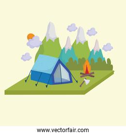 camping tent campfire