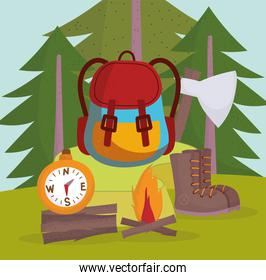 camping equipment cartoon