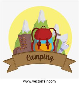 camping adventure label