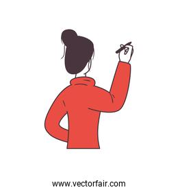 woman with pen