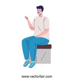 man seated character
