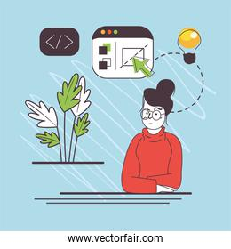 woman with web code