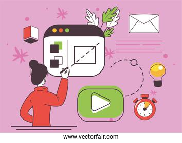 woman with website and icon set