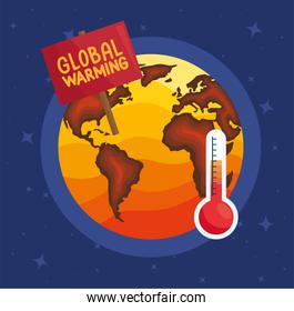 earth and thermometer