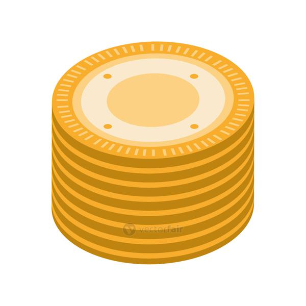 stack coins isometric