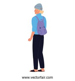 young with rucksack