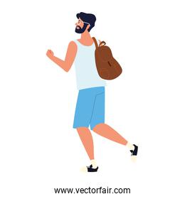 bearded man with backpack