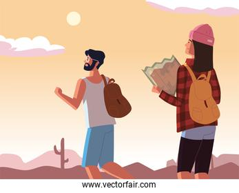traveling couple with map
