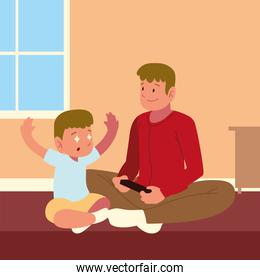 father son playing